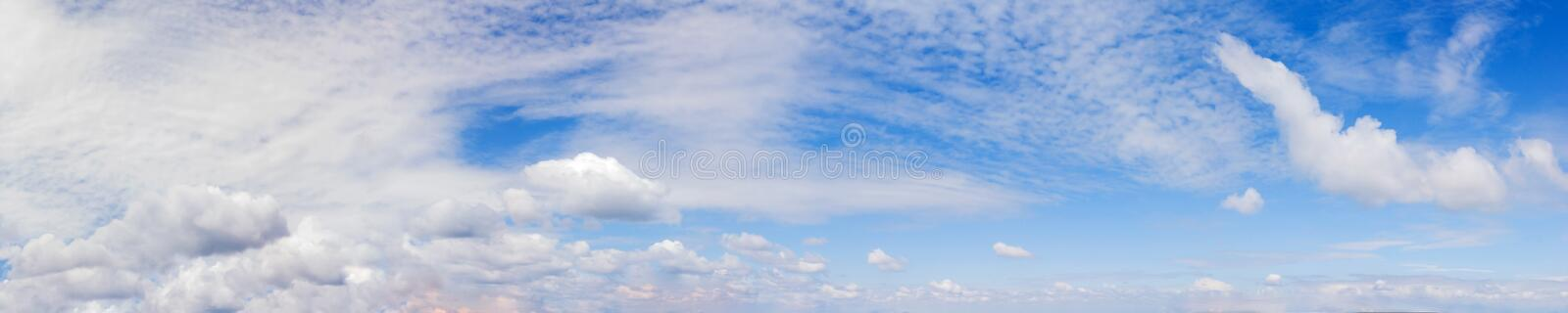 Vibrant color panoramic sky with cloud on a sunny day. Beautiful cirrus cloud. Panorama high resolution photograph stock images