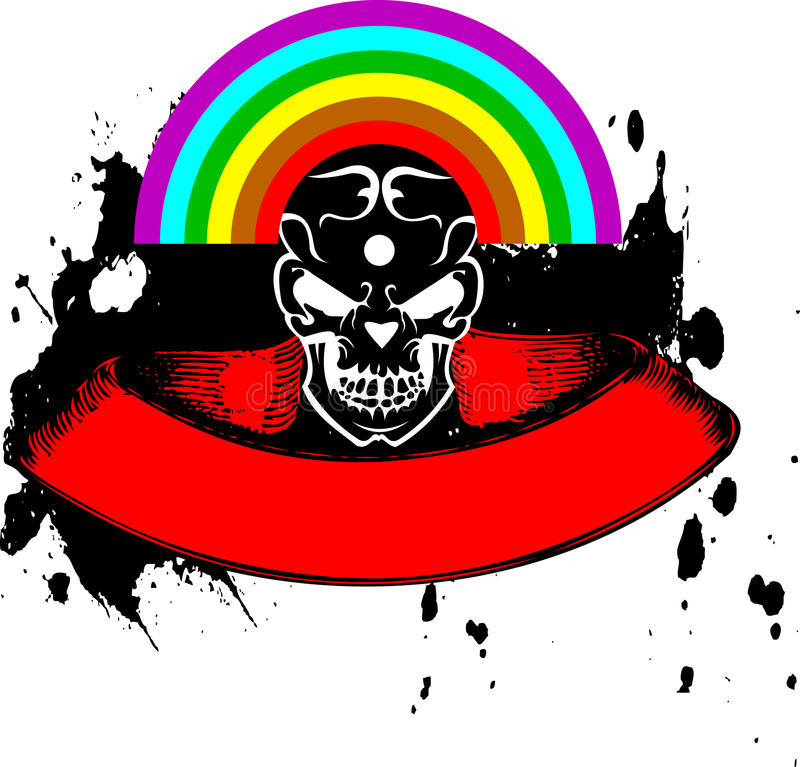 Download Vibrant Color Rainbow Skull Banner. Stock Vector - Image: 11980584