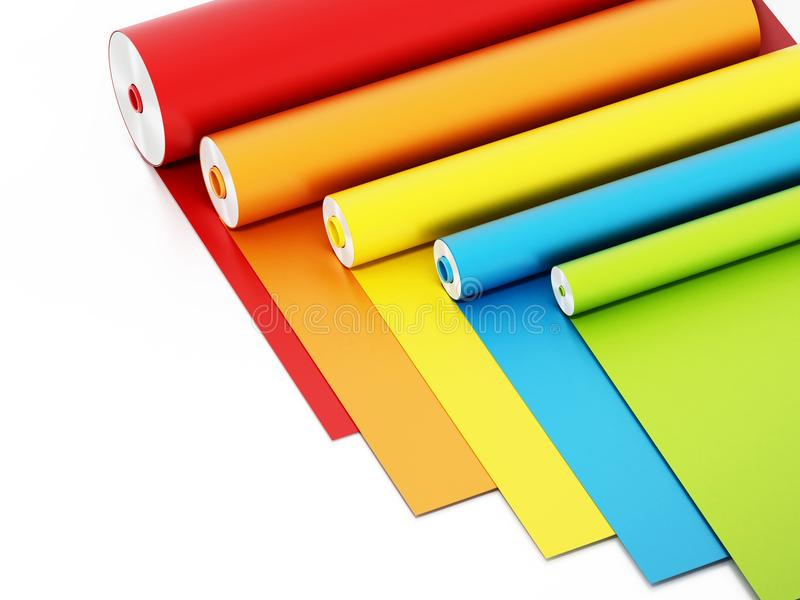 Vibrant colored adhesive films isolated on white background. 3D illustration royalty free illustration