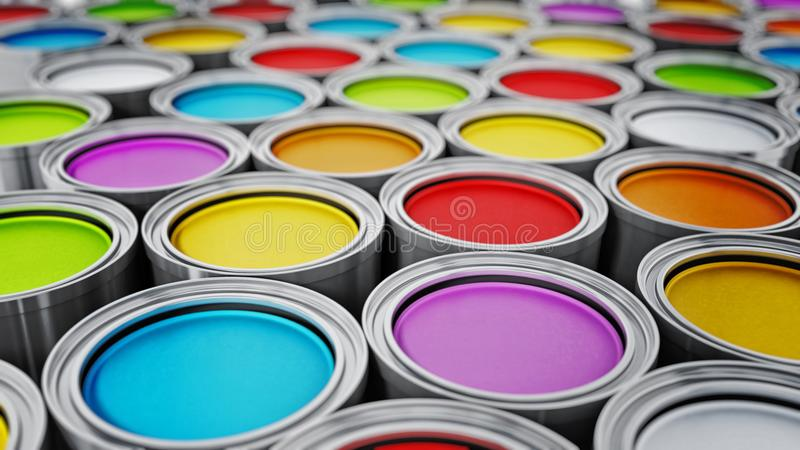 Vibrant colored paint cans background. 3D illustration stock illustration
