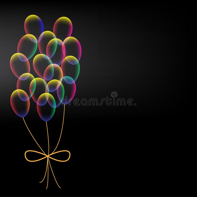 Vibrant colorful balloons on black background. Vibrant colorful balloons with bow on black background vector illustration