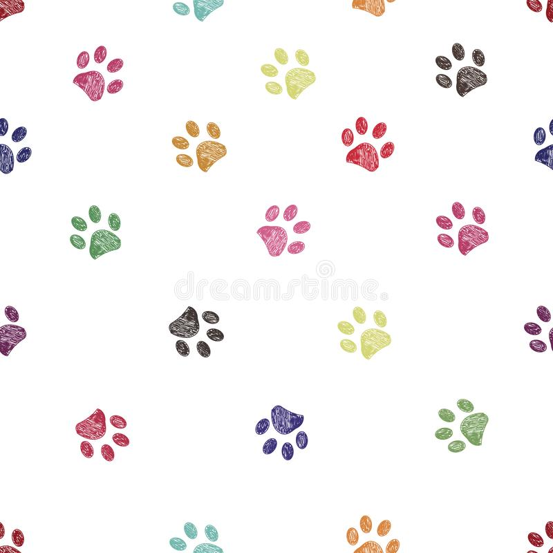 Vibrant colorful doodle paw prints seamless for textile design pattern stock illustration