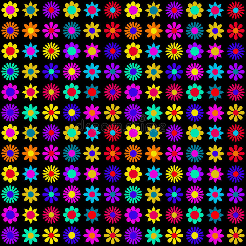 Download Vibrant Colorful Flowers On Black Background Stock Vector - Image: 27915131