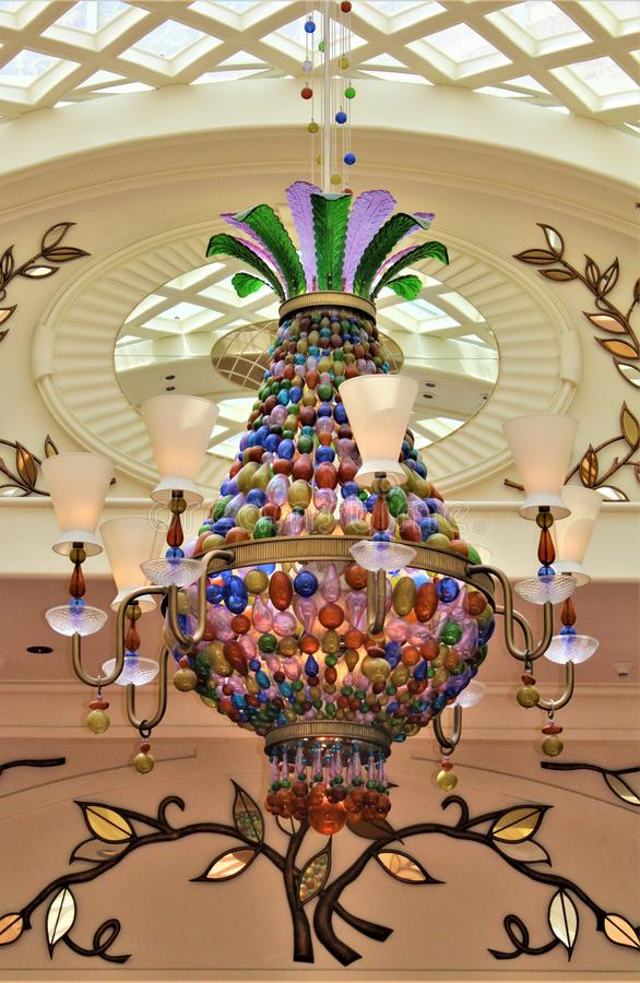 Vibrant  Colorful Hand Blown Glass Chandeliers stock photography