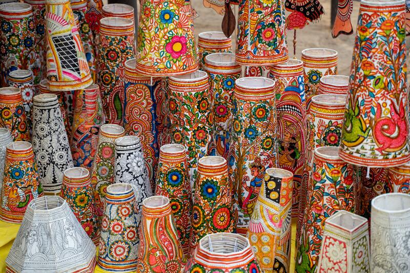 Vibrant, colorful lampshades for sale at the Surajkund Crafts Mela in Faridabad India.  royalty free stock photography