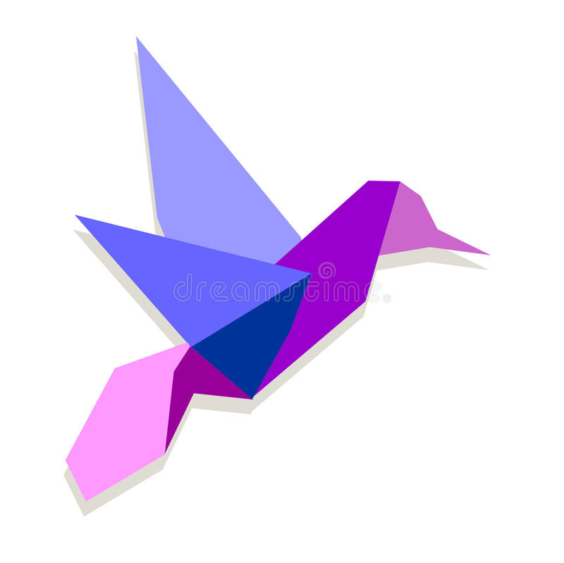 Vibrant colors Origami hummingbird. One Origami vibrant colors hummingbird. Vector file available stock illustration