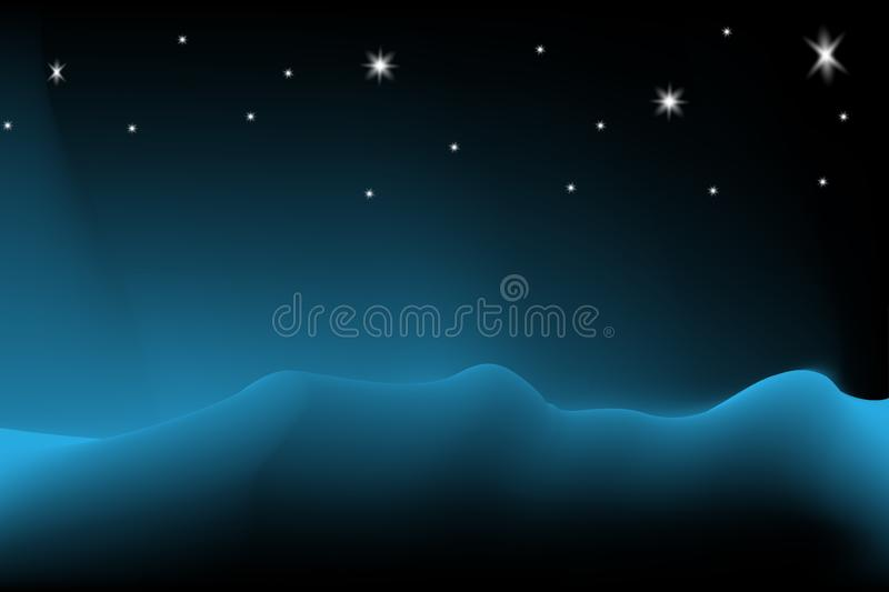 Vibrant cool black background Starry Night at polar, Landscape night view. Vibrant cool blue and black background Wave background, aurora sky background at night stock illustration