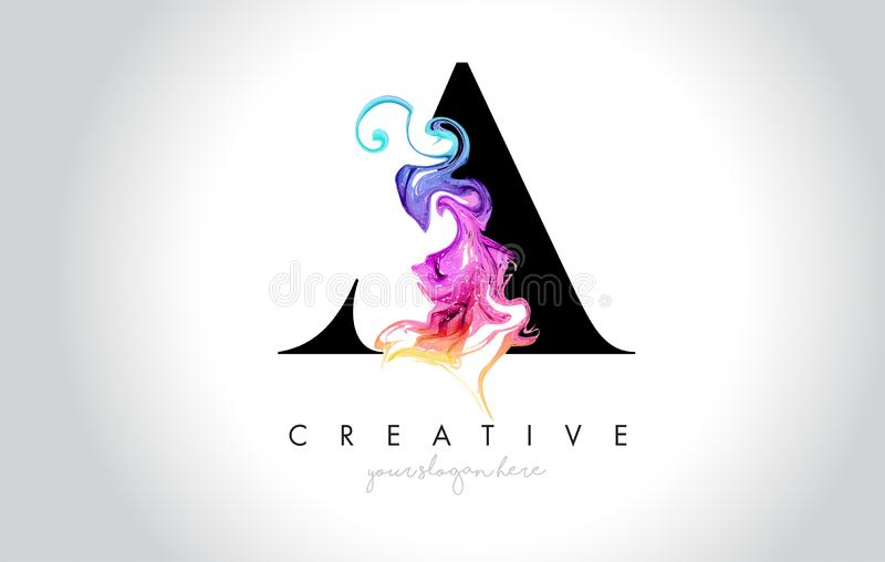 A Vibrant Creative Leter Logo Design with Colorful Smoke Ink Flo. Wing Vector Illustration vector illustration