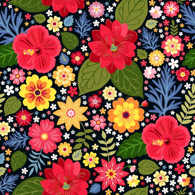 Vibrant ditsy floral pattern with exotic flowers in vector. Seamless colorful background. Vector illustration. Bright fashion print for fabric, wrapping paper vector illustration
