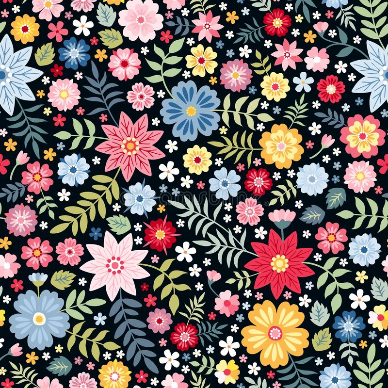 Vibrant ditsy floral seamless pattern with bright summer flowers on dark background. royalty free illustration