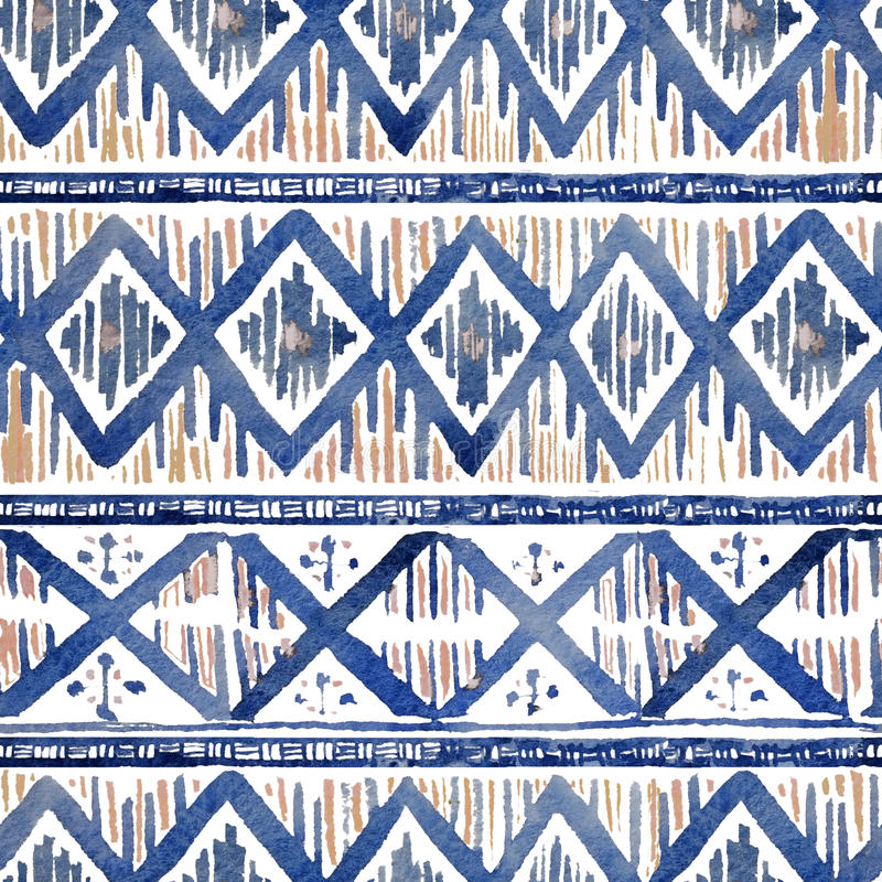 Vibrant ethnic rhombus pattern in watercolour style. royalty free stock photos