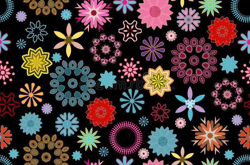Vibrant floral pattern tile in blue, pink and yellow over black background vector illustration