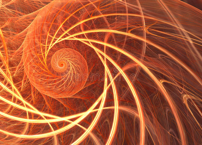 Vibrant fractal with a sun spiral pattern. A digital image is re vector illustration