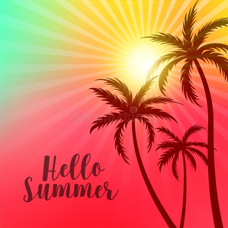 Vibrant hello summer poster with palm trees and sun vector illustration