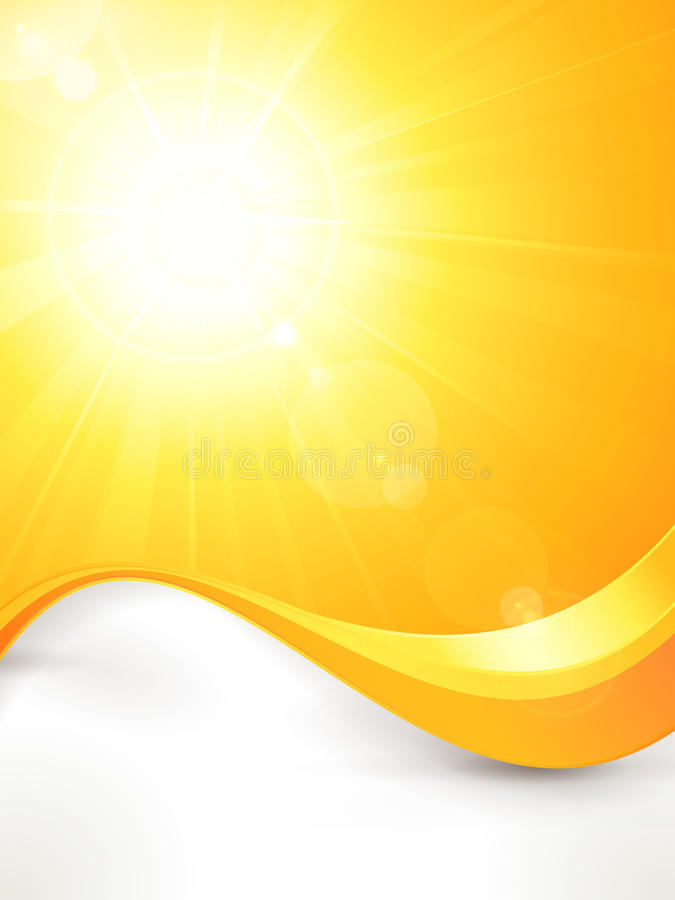 Vibrant hot vector summer sun with lens flare and vector illustration