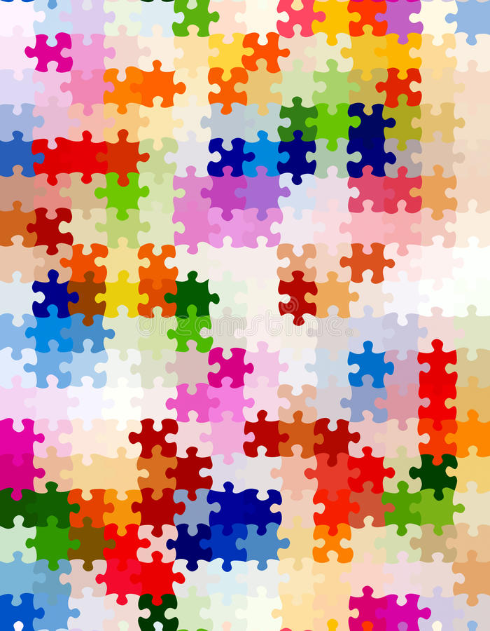 Vibrant jigsaw pieces pattern vector illustration