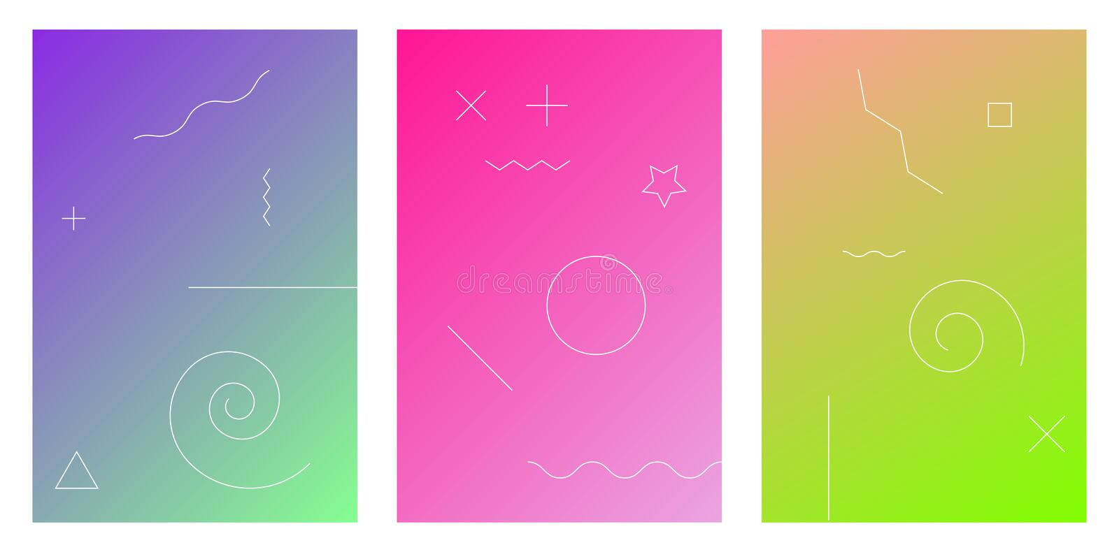 Vibrant and living smooth gradient soft colors coral blue green palette for devices, pc`s and modern smartphone screen. Backgrounds set vector ux and ui design royalty free illustration