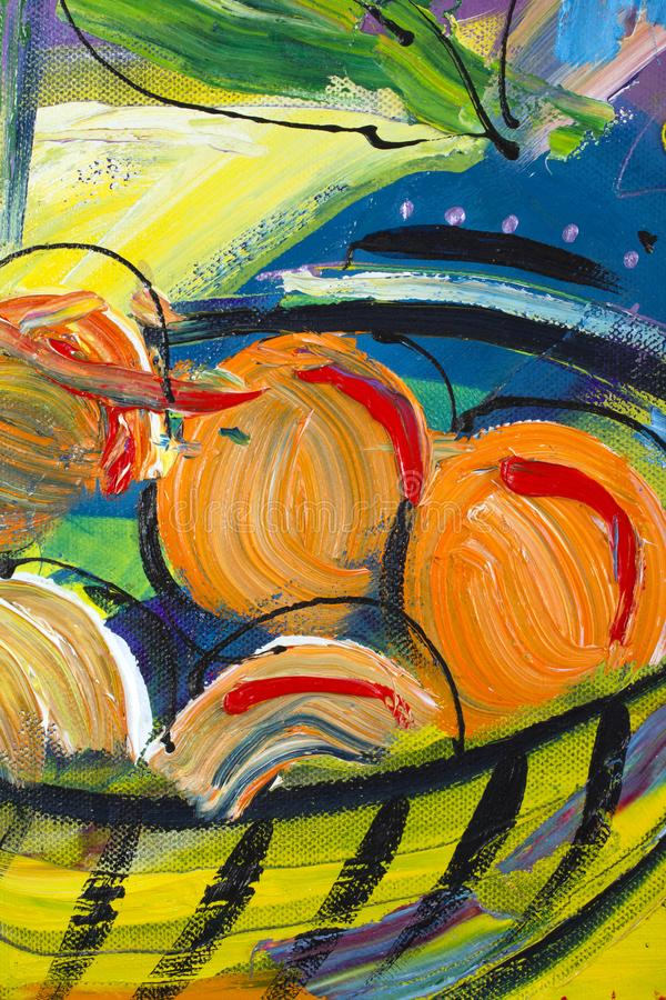 Painting detail. Vibrant multi-colored original oil painting semi-abstract close up detail showing brushwork and canvas textures - fruit bowl stock image