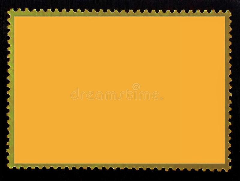Vibrant orange blank rectangle postage stamp close-up isolated on black background.Template for design stock image