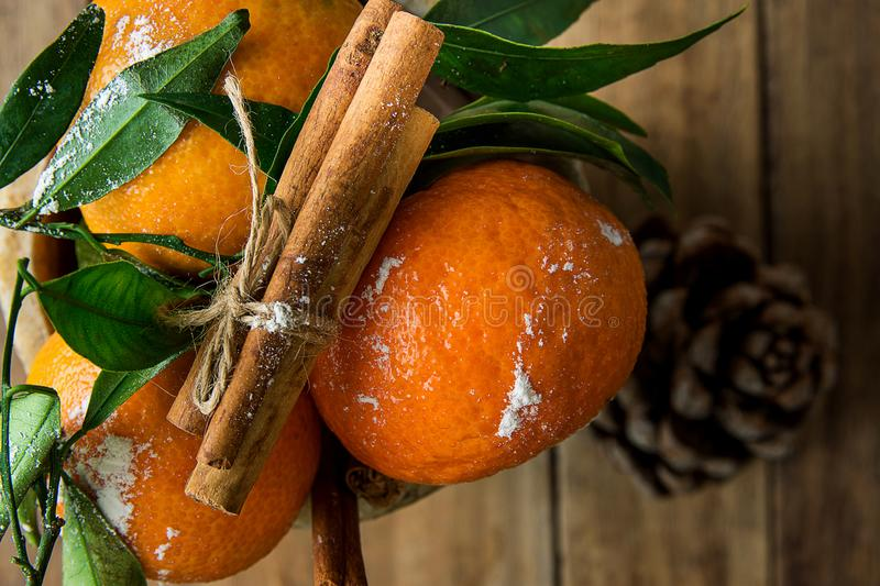 Vibrant Orange Tangerines on Branches Green Leaves Cinnamon Sticks tied with Twine Pine Cone Wood Background. Christmas stock photo