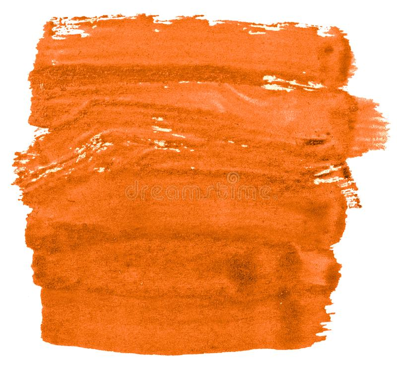 Vibrant orange watercolor abstract background, stain, splash paint, stain, divorce. Vintage paintings for design and decoration. With copy space for text stock illustration