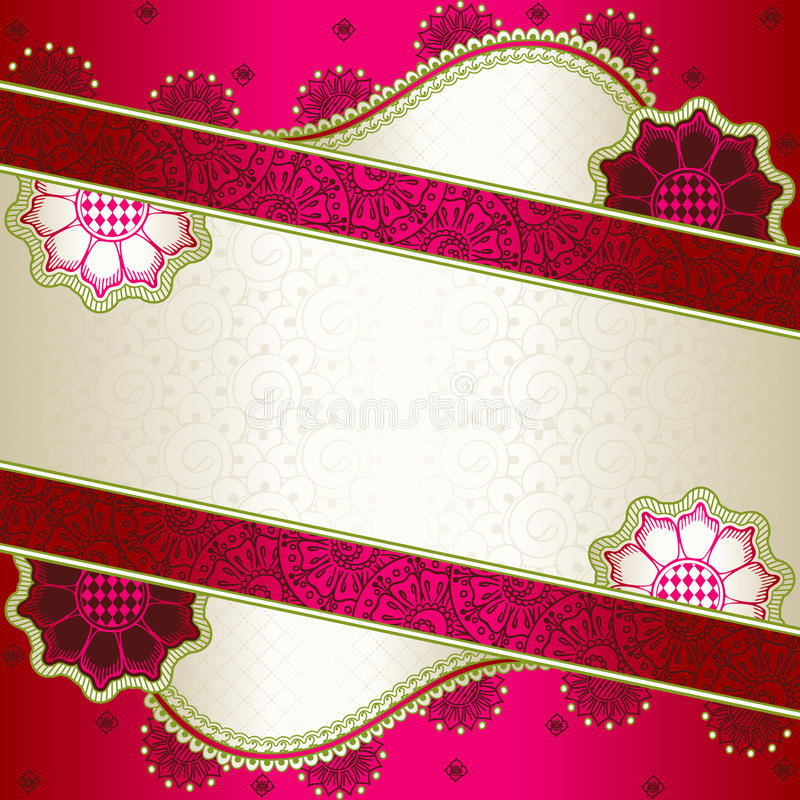 Vibrant pink banner inspired by Indian mehndi vector illustration
