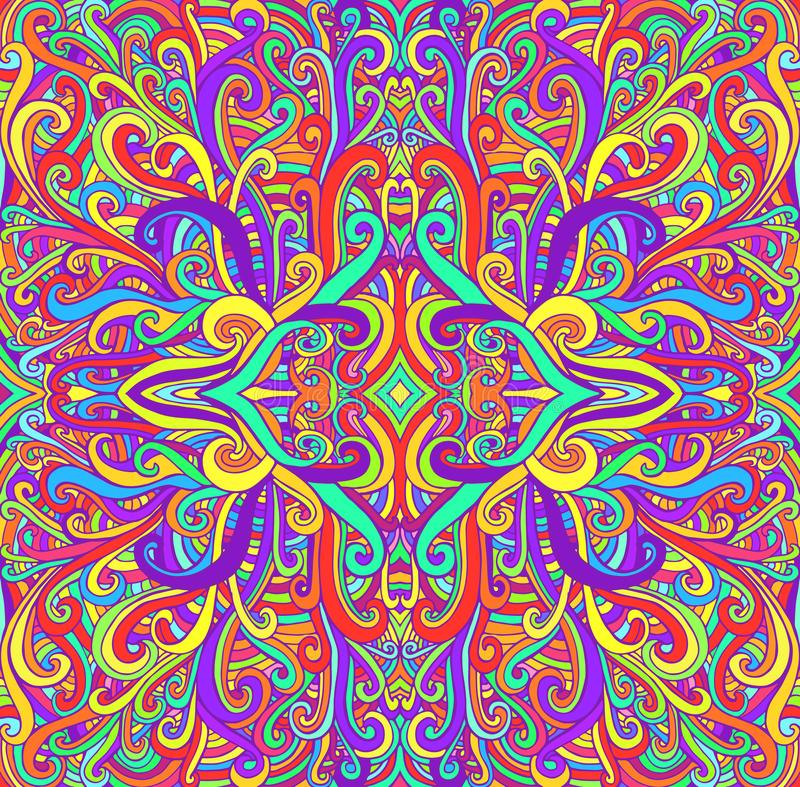 Vibrant psychedelic colorful mandala, waves ornament background. Decorative abstract pattern, flower of wavy ornament stock illustration