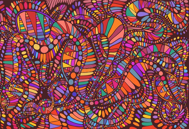 Vibrant psychedelic colorful surreal background. Bright colors abstract texture, maze of ornaments. Vector hand drawn stock illustration