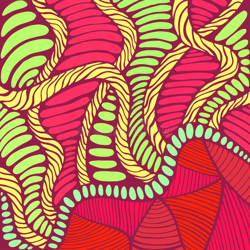 Vibrant psychedelic colorful surreal background. Bright colors abstract texture, maze of ornaments. vector illustration