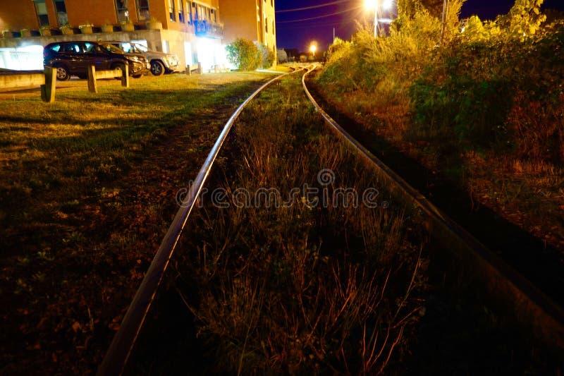 Vibrant railroad tracks royalty free stock images