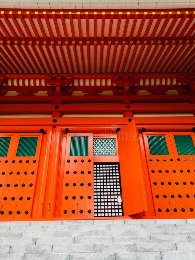 The vibrant red Konpon Daito Pagoda in the Unesco listed Danjo Garan shingon buddhism temple complex in Koyasan, Wakayama, Japan. stock photo