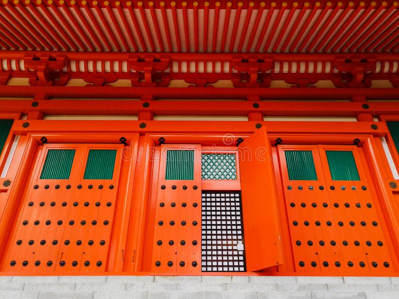 The vibrant red Konpon Daito Pagoda in the Unesco listed Danjo Garan shingon buddhism temple complex in Koyasan, Wakayama, Japan. royalty free stock photos