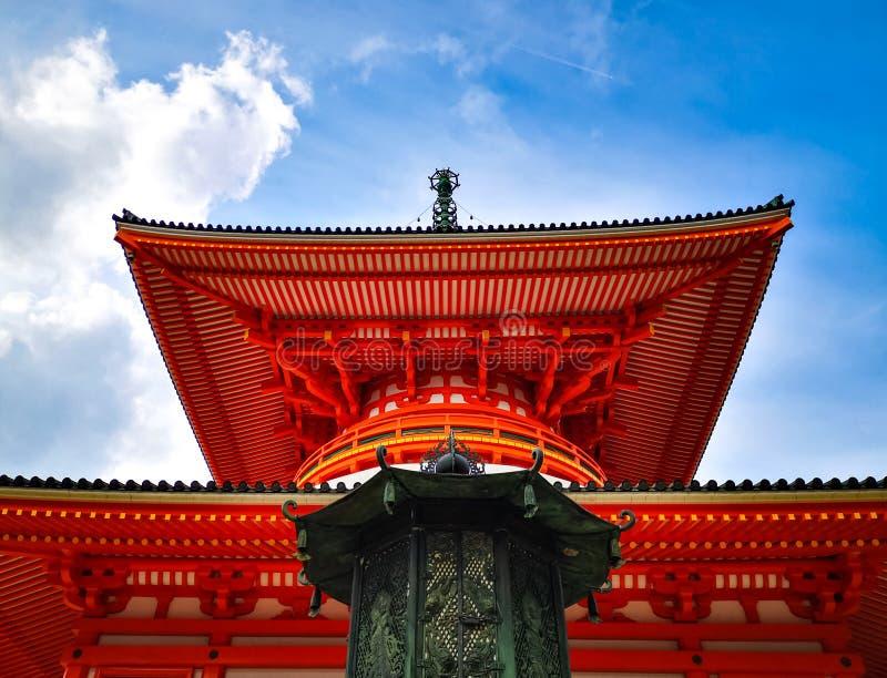 The vibrant red Konpon Daito Pagoda in the Unesco listed Danjo Garan shingon buddhism temple complex in Koyasan, Wakayama, Japan. stock image