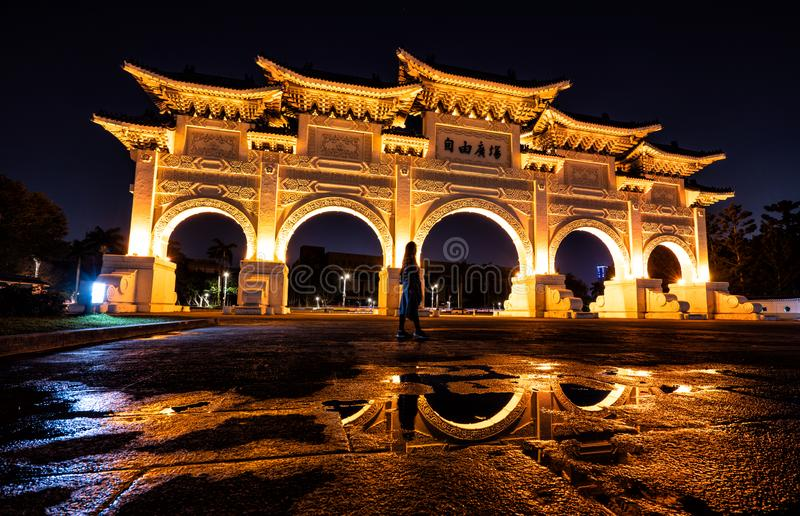 The golden Liberty Square Arch of Taiwan at night. royalty free stock images