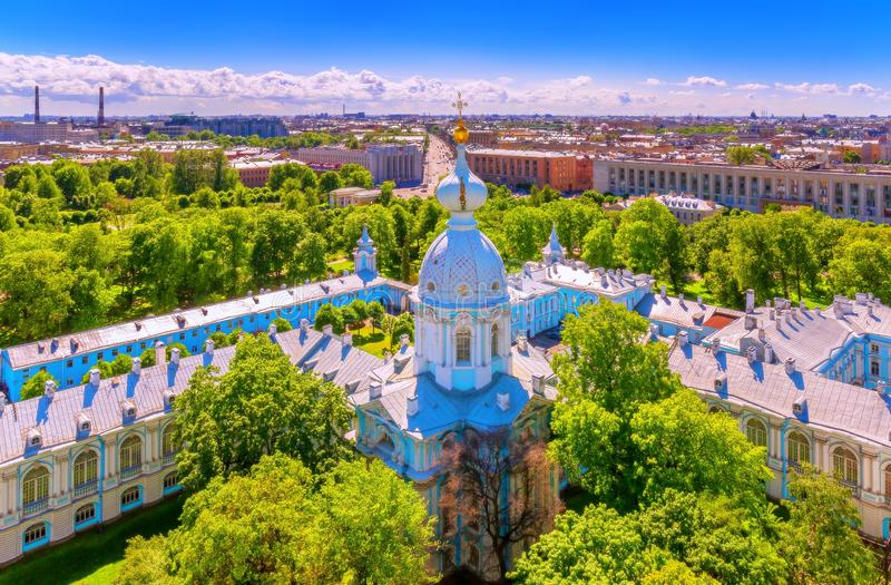 Vibrant Saint Petersburg sunny cityscape panorama from bell tower of Smolniy orthodox cathedral  in summer royalty free stock photos