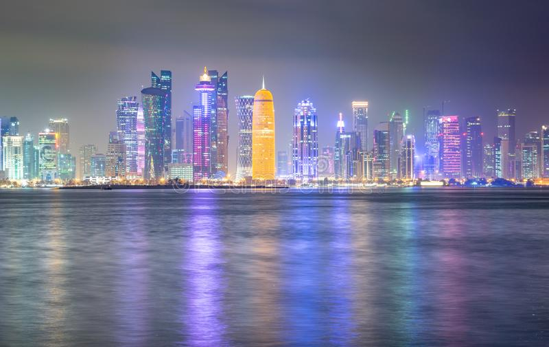 Vibrant Skyline of Doha at Night stock photography