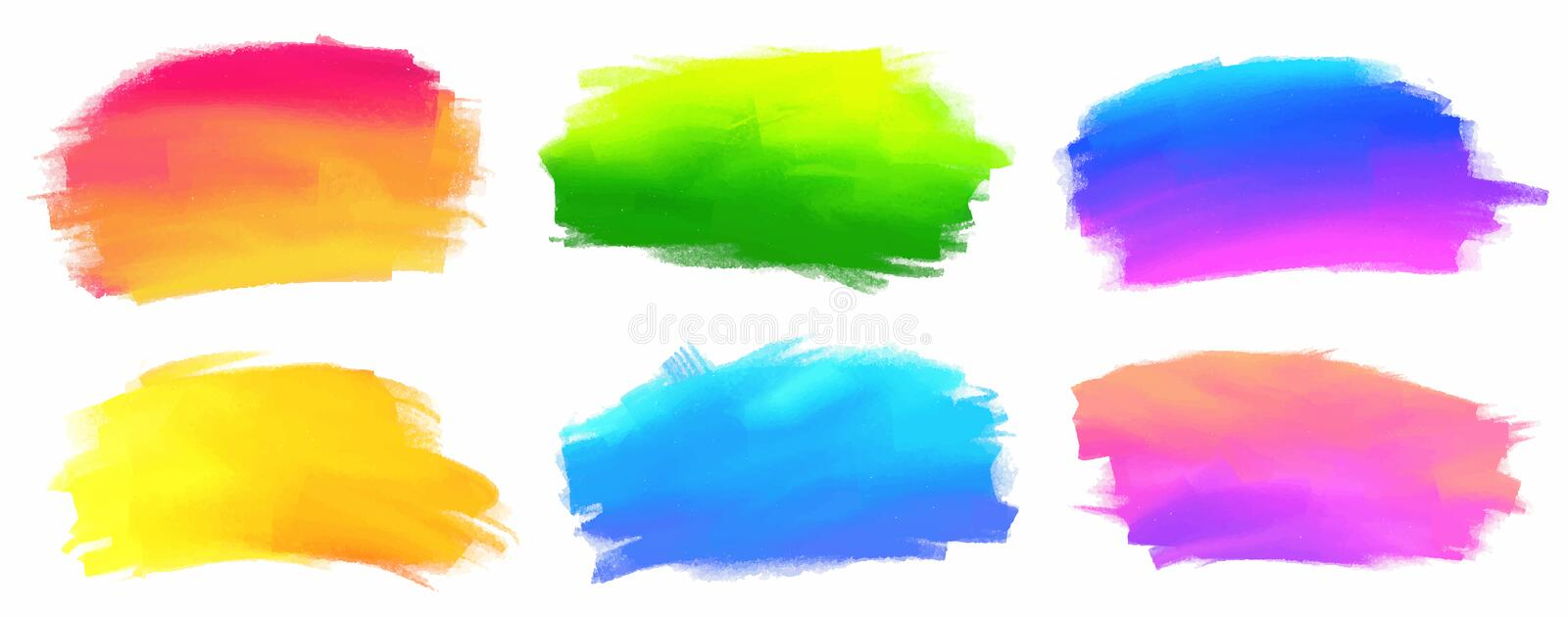 Vibrant spectrum colors vector acrylic paint stains royalty free illustration