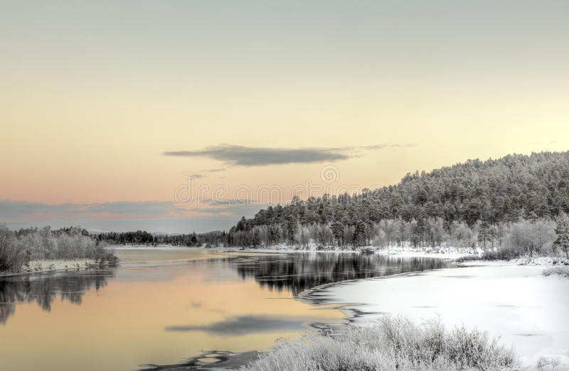 Download Vibrant Sunset In A Lake Nearby Inari, Finland Stock Image - Image: 28913717