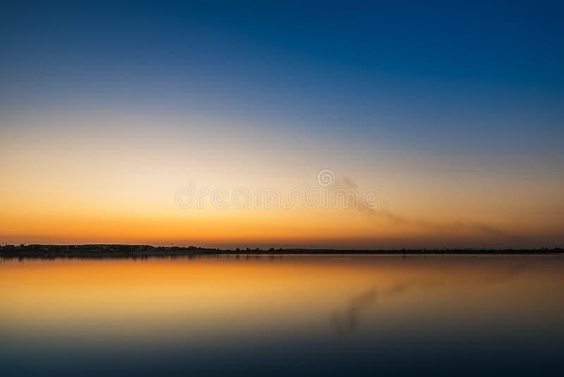 Vibrant sunset landscape stock photo