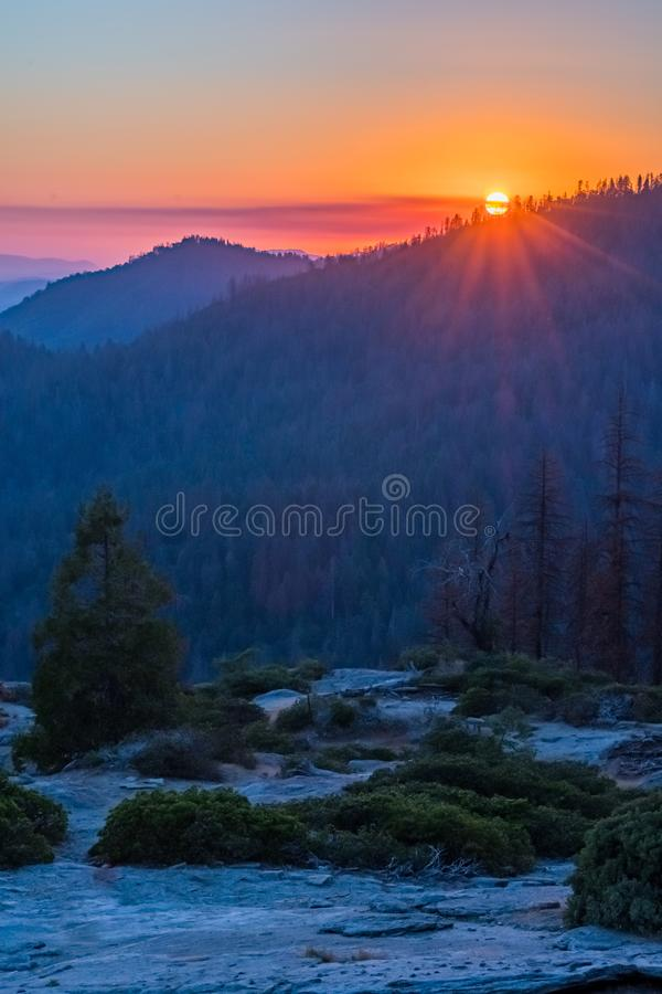 Vibrant Sunset Over Mountains in Sequoia. Wilderness royalty free stock image