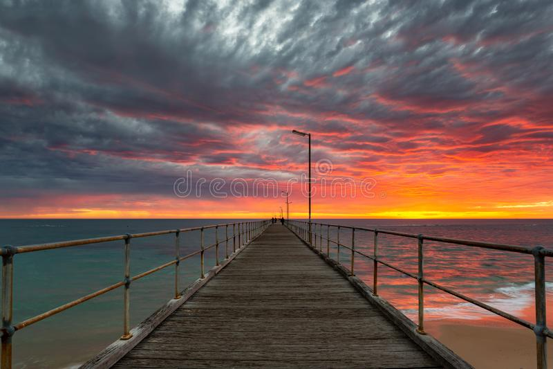 A vibrant sunset at the Port Noarlunga Jetty South Australia on 15th April 2019 stock images