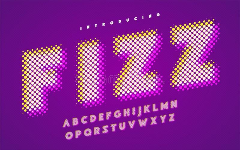 Vibrant super halftone stylized uppercase english alphabet. royalty free illustration