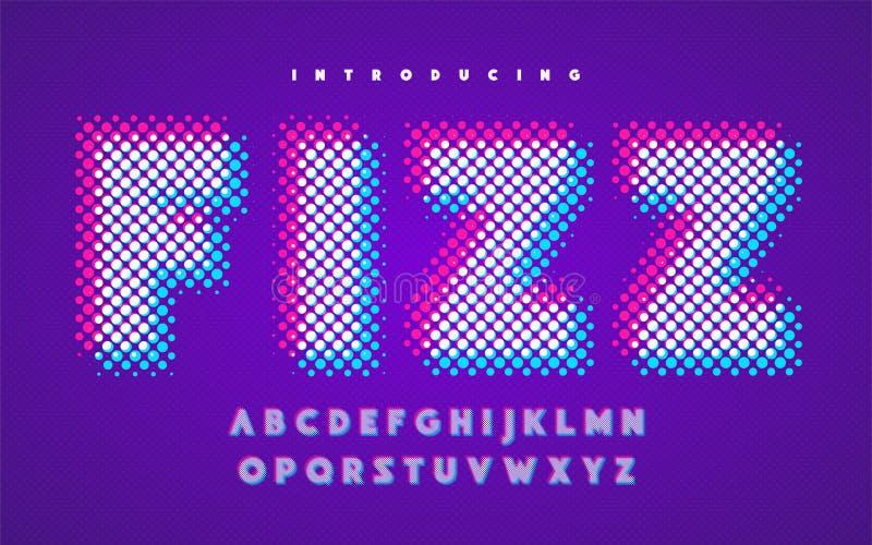 Vibrant super halftone stylized uppercase english alphabet. stock illustration