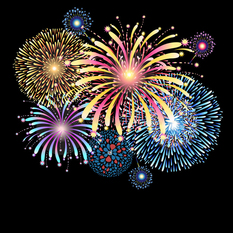 Vibrant vector illustration with color fireworks vector illustration