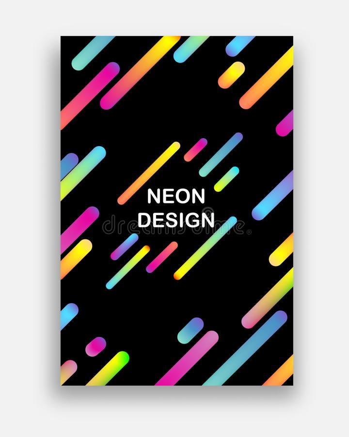 Colorful vector with neon colors. Futuristic abstract design with trendy geometric shapes. royalty free illustration