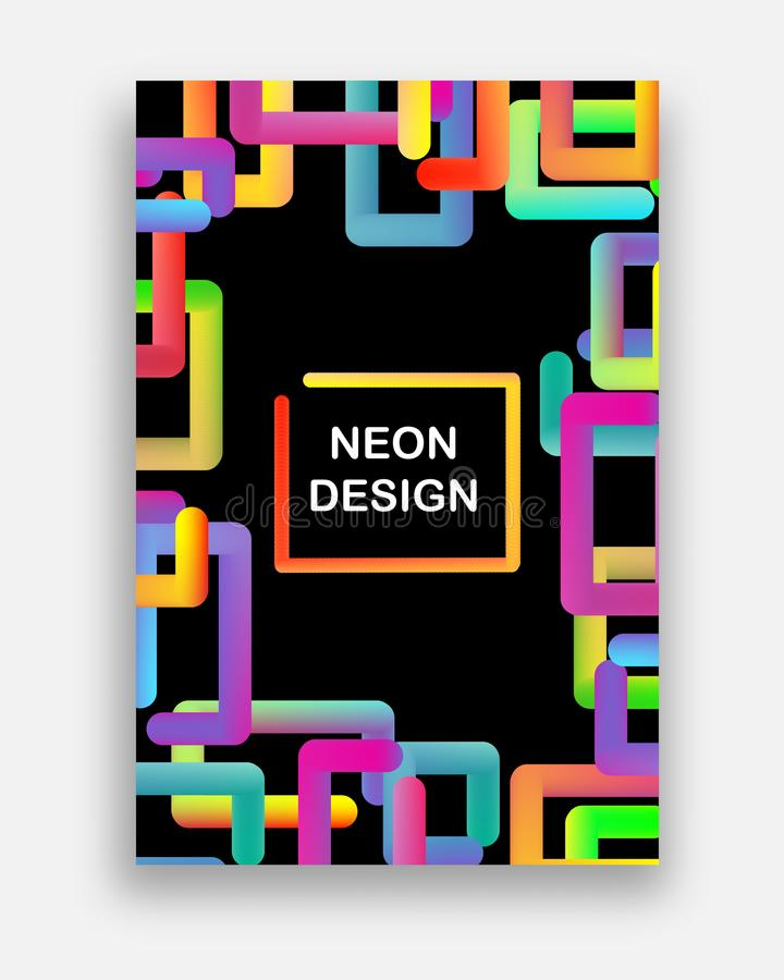 Colorful vector with neon colors. Futuristic abstract design with trendy geometric shapes. stock illustration