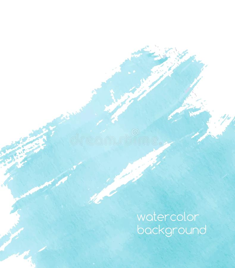 Vibrant watercolor background or backdrop with paint trace, expressive brush strokes, stain, blot or smear of azure or. Turquoise blue color. Decorative vector royalty free illustration