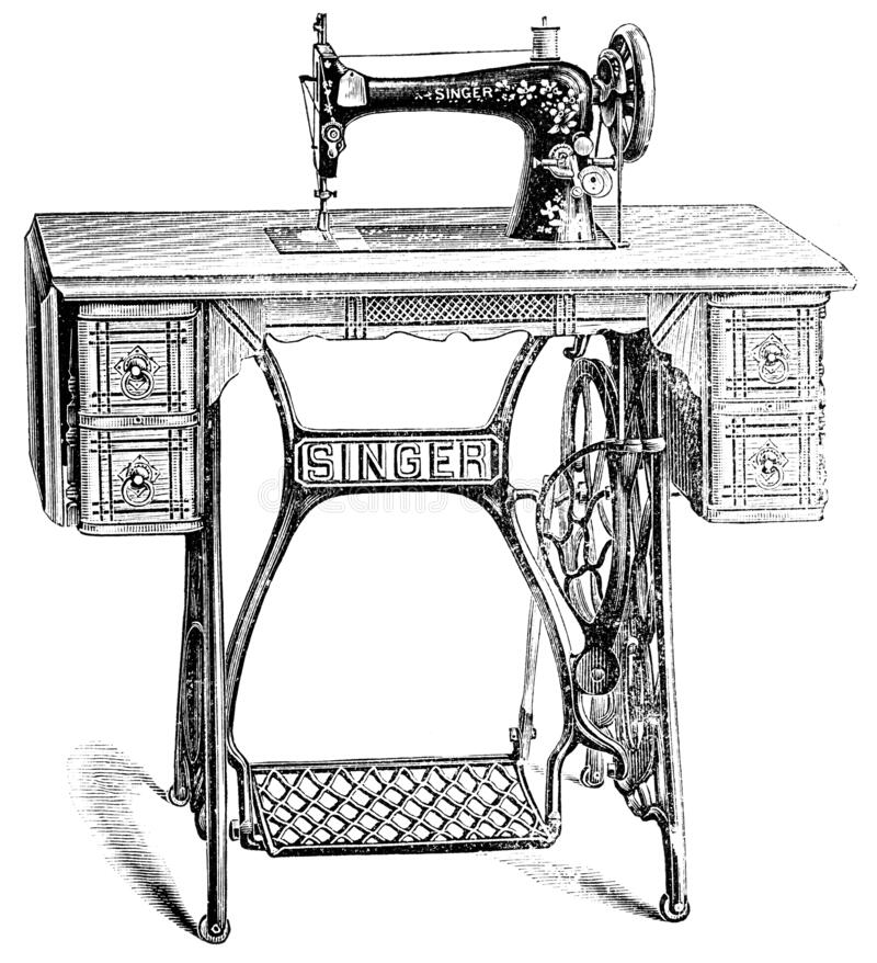 The vibrating shuttle model of Singer sewing machine. royalty free stock images