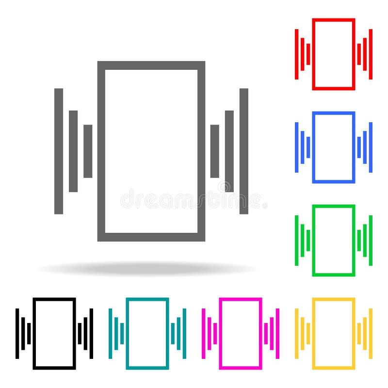 vibration på telefonsymbolerna Beståndsdelar av kulöra symboler för mänsklig rengöringsduk Högvärdig kvalitets- symbol för grafis stock illustrationer