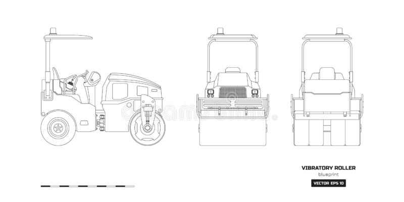 Vibratory roller in outline style. Side, back and front view. Industrial isolated drawing of asphalt compactor royalty free illustration